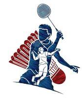 colagem de ação de jogadores masculinos de badminton vetor