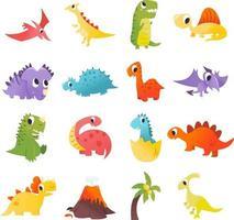 conjunto super fofo de dinossauros de desenho animado vetor