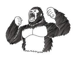 gorila bravo gritando vetor