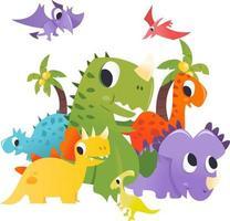 super fofo desenho animado grupo de dinossauros cena pré-histórica vetor