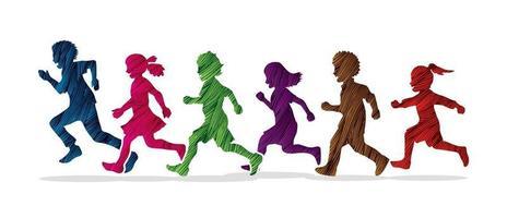 crianças correndo e brincando juntas vetor