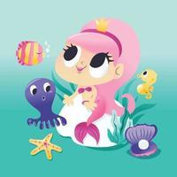 sereia super fofa sentada debaixo d'água com criaturas marinhas vetor