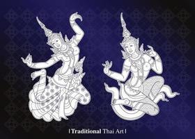 conjunto de arte tradicional tailandesa vetor