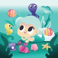 Sereia super fofa deitada debaixo d'água com criaturas marinhas vetor