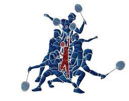 grupo de jogadores de badminton ação vetor