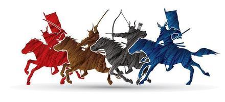 guerreiros samurais montando cavalos vetor