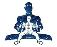 ação de lutador de kung fu vetor