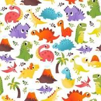 super cute cartoon dinosaurs seamless pattern background vetor