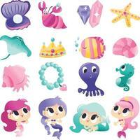 conjunto de criaturas marinhas sereias super fofas vetor