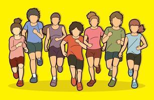 grupo de crianças correndo juntas vetor