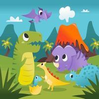 super fofo desenho animado cena pré-histórica de dinossauros vetor