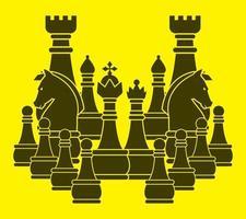 silhueta do jogo de xadrez vetor