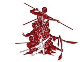 colagem de ação em artes marciais vetor