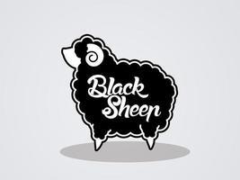 ovelha negra gorda e texto vetor
