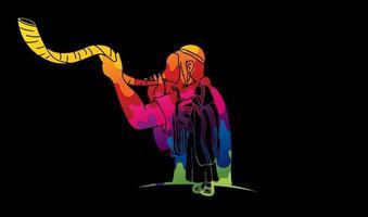 judaico soprando o design do shofar usando uma escova colorida vetor