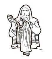 homem judeu soprando o contorno do chifre do shofar vetor