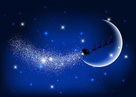 Papai Noel voando pelo céu noturno