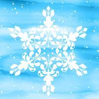 Floco de neve decorativo no fundo aquarela vetor