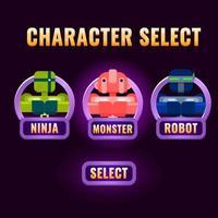 A seleção de personagens da interface do usuário do jogo roxo arredondado aparece para ilustração do vetor interface 2d gui