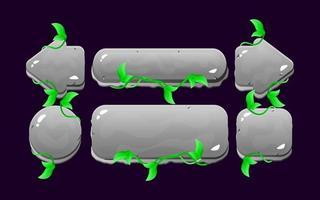 conjunto de jogo ui rock nature deixa o kit de botão para ilustração vetorial de elementos de recursos de interface do usuário