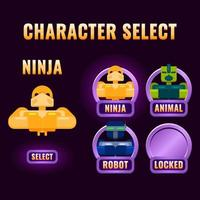 A seleção de personagens de interface do usuário de jogo arredondado roxo brilhante aparece para ilustração vetorial de interface 2d gui vetor