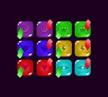 conjunto de ícone de energia mágica de geléia colorida de interface do usuário para ilustração vetorial de elementos de ativo de interface do usuário vetor