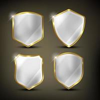 escudos definidos em ouro e prata vetor