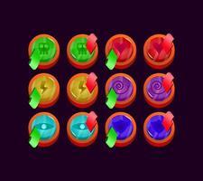 conjunto de ícone de energia mágica de geléia arredondada brilhante da interface do usuário para ilustração vetorial de elementos de ativo de interface vetor