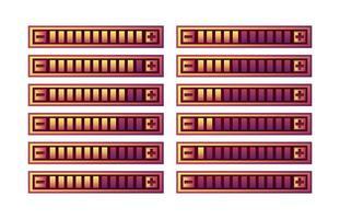 conjunto de painel de barra de progresso de interface do usuário do jogo roxo engraçado com botão de aumentar e diminuir para ilustração de vetor de elementos de recurso de interface