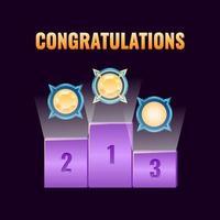 conjunto de classificação de prêmio de classificação de interface do usuário de jogo de fantasia para ilustração vetorial de elementos de ativos de interface vetor