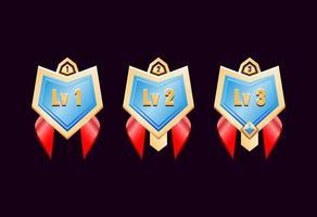 medalhas do emblema de classificação de diamante dourado brilhante da interface do usuário com fita vermelha vetor
