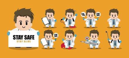conjunto de personagens de desenho animado de médico fofo vetor