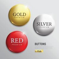 botão de círculo moderno em ouro prata e vermelho