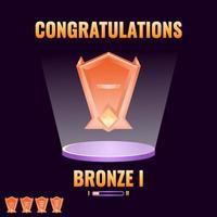interface do jogo ui bronze classificado de nível acima para ilustração do vetor de elementos de ativos da interface do usuário do jogo