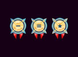 medalhas do emblema de classificação de diamante dourado brilhante da interface do usuário de jogo arredondado vetor