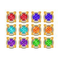 conjunto de pedra de pedra medieval jogo de geléia botão da interface do usuário sim e não marcas de seleção para ilustração vetorial de elementos de recurso de gui vetor