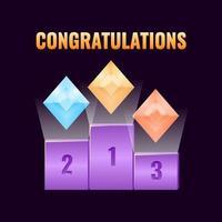 conjunto de prêmio de tabela de classificação de interface do usuário de jogo de fantasia com ícone de medalhas de classificação de diamante para ilustração vetorial de elementos de ativos de interface vetor