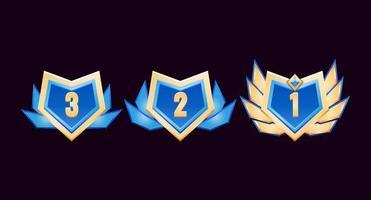 medalhas de distintivo de classificação de diamante dourado brilhante da interface do usuário com asas vetor