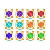 conjunto de botão de interface do usuário do jogo de geléia medieval congelar gelo sim e não marcas de seleção para ilustração vetorial de elementos de ativos de gui vetor