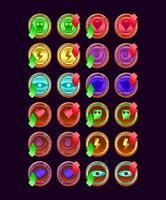 conjunto de ícone de energia mágica de geléia de madeira arredondada de interface do usuário para ilustração vetorial de elementos de ativo de interface do usuário vetor