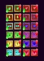conjunto de ícone de energia mágica de geleia de madeira da interface do usuário para ilustração vetorial de elementos de ativo GUI vetor