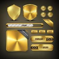 botão web definido em ouro vetor