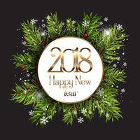 Feliz ano novo fundo com flocos de neve e galhos de árvore do abeto vetor