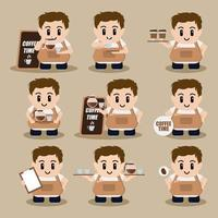 conjunto de personagens de desenhos animados de barista fofo