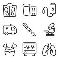 pacote de ícones lineares de ferramentas médicas vetor
