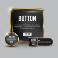 conjunto de botões da web preto e dourado vetor