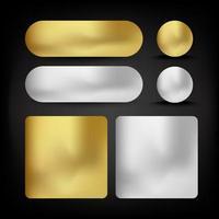 conjunto de botões ouro e prata vetor