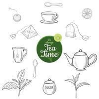 conjunto de estilo de esboço desenhado de mão de chá. vetor