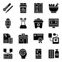pacote de ícones sólidos de equipamentos médicos vetor