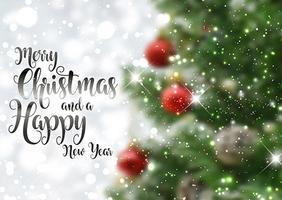 Fundo de texto de Natal com imagem de árvore defocussed
